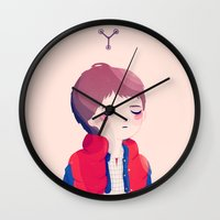 marty mcfly Wall Clocks featuring Marty by Nan Lawson