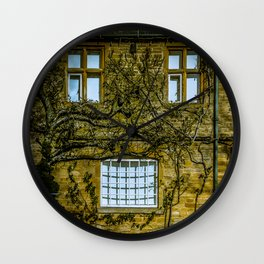 Windows on a Cotswold Square House with Vine and Shadow England Wall Clock