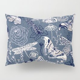 Dragonflies, Butterflies and Moths With Plants on Navy Pillow Sham