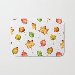 Hand painted green gold brown red Autumn leaves Bath Mat