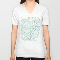 gold V-neck T-shirts featuring Berry Branches – Turquoise & Gold by Cat Coquillette