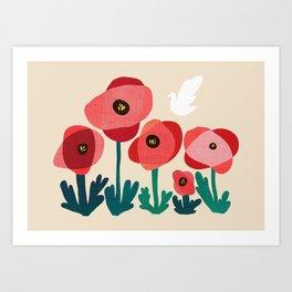 Poppy flowers and bird Art Print