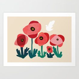 Poppy flowers and bird Art Print