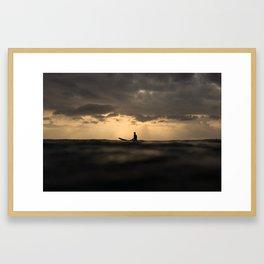 Surfer Sunset Framed Art Print
