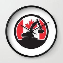 Canadian  Excavator Canada Flag Icon Wall Clock