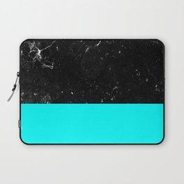 Aqua Blue Meets Black Marble #1 #decor #art #society6 Laptop Sleeve