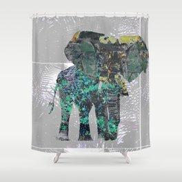 Elephant Folliage Shower Curtain