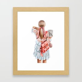 Fashion lady in pink Framed Art Print