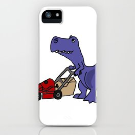 Funny Blue T-Rex Dinosaue Pushing a Lawn Mower to Mow the Lawn iPhone Case