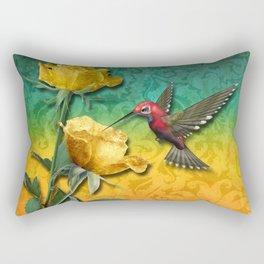 Hummingbird Gold Roses & Damask Rectangular Pillow
