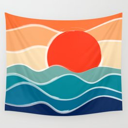 Retro 70s and 80s Color Palette Mid-Century Minimalist Nature Waves and Sun Abstract Art Wall Tapestry
