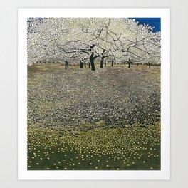 Apple Blossoms, Early Spring floral landscape painting by Gustav Klimt Art Print