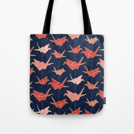 Red origami cranes on navy blue Tote Bag