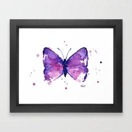 Butterfly Purple Watercolor Animal Framed Art Print