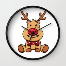 Cute Reindeer Merry Christmas Red Nose Rudolf Wall Clock