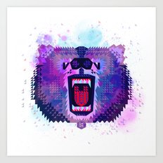Lilac Geometric Bear  Art Print