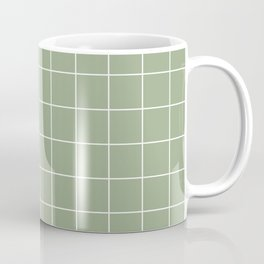 Grid Pattern Sage White 9AAB89 Stripe Line Minimal Stripes Lines Coffee Mug