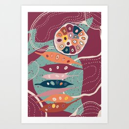 Seeds and Shapes Abstract Red  Art Print