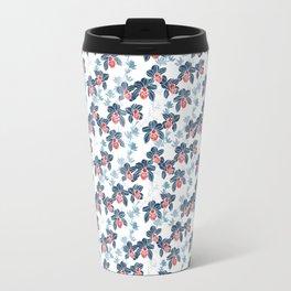 Orchid garden in navy blue on white Travel Mug