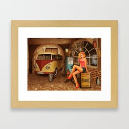 Pin up girl in nostalgic workshop Framed Art Print
