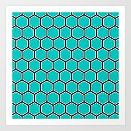 Bright turquoise, white and black hexagonal pattern Art Print