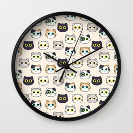 Kitty Pattern- Natural Wall Clock