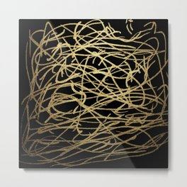 Painted Faux Gold Scribbles Pattern Metal Print