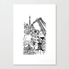 Three City Silhouettes Canvas Print