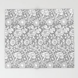 """William Morris Floral Pattern   """"Pink and Rose"""" in Grey and White   Vintage Flower Patterns   Throw Blanket"""