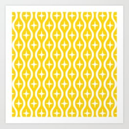 Mid century Modern Bulbous Star Pattern Yellow Art Print