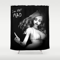 mad Shower Curtains featuring Mad Alice by Britta Glodde