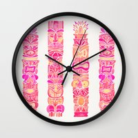 tiki Wall Clocks featuring Tiki Totems – Pink Palette by Cat Coquillette