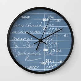 Library Card 23322 Negative Blue Wall Clock