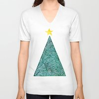 christmas tree V-neck T-shirts featuring Christmas tree by Bridget Davidson