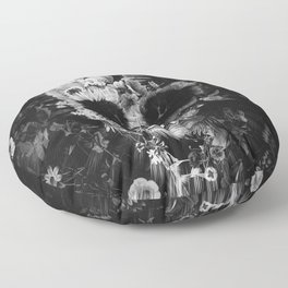Garden Skull Dark B&W Floor Pillow