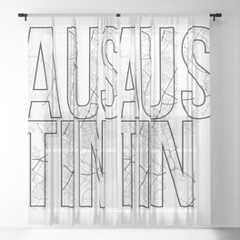 Austin Street Map Typography Sheer Curtain