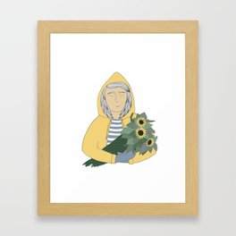Girl with sunflowers.  Framed Art Print