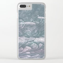 Light slate gray stained watercolor Clear iPhone Case