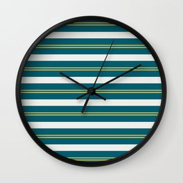 Off White, Dark Yellow and Tropical Dark Teal Inspired by Sherwin Williams 2020 Trending Color Oceanside SW6496 Stripes Thick and Thin Horizontal Line Pattern 2 Wall Clock