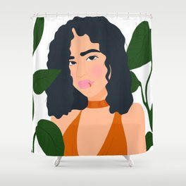 Girl surrounded with plants Shower Curtain