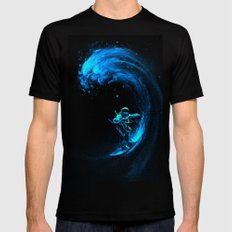 Space Surfing Mens Fitted Tee MEDIUM Black