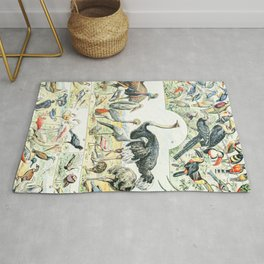Exotic Birds // Oiseaux II by Adolphe Millot XL 19th Century Science Textbook Diagram Artwork Rug