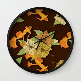 Night Time Goldfish Pond With Hibiscus Pattern Wall Clock
