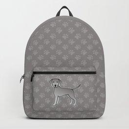 Weimaraner Dog Cute Cartoon Illustration Backpack