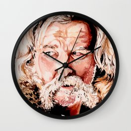 Kurt Russell Watercolor Portrait Wall Clock