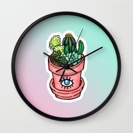 Cactus Pot Plant Wall Clock