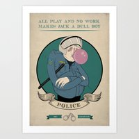 police Art Prints featuring POLICE by All play