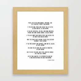 Do It Anyway by Mother Teresa 3 #minimalism #inspirational Framed Art Print