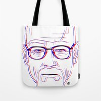 walter white Tote Bags featuring Walter White by Bleachydrew