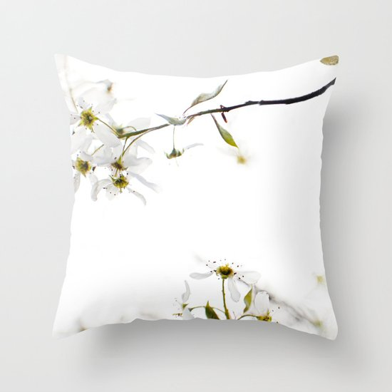 blossoming white Throw Pillow